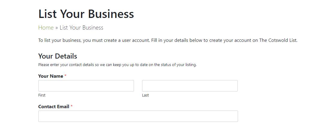 Request to Register Form Screenshot